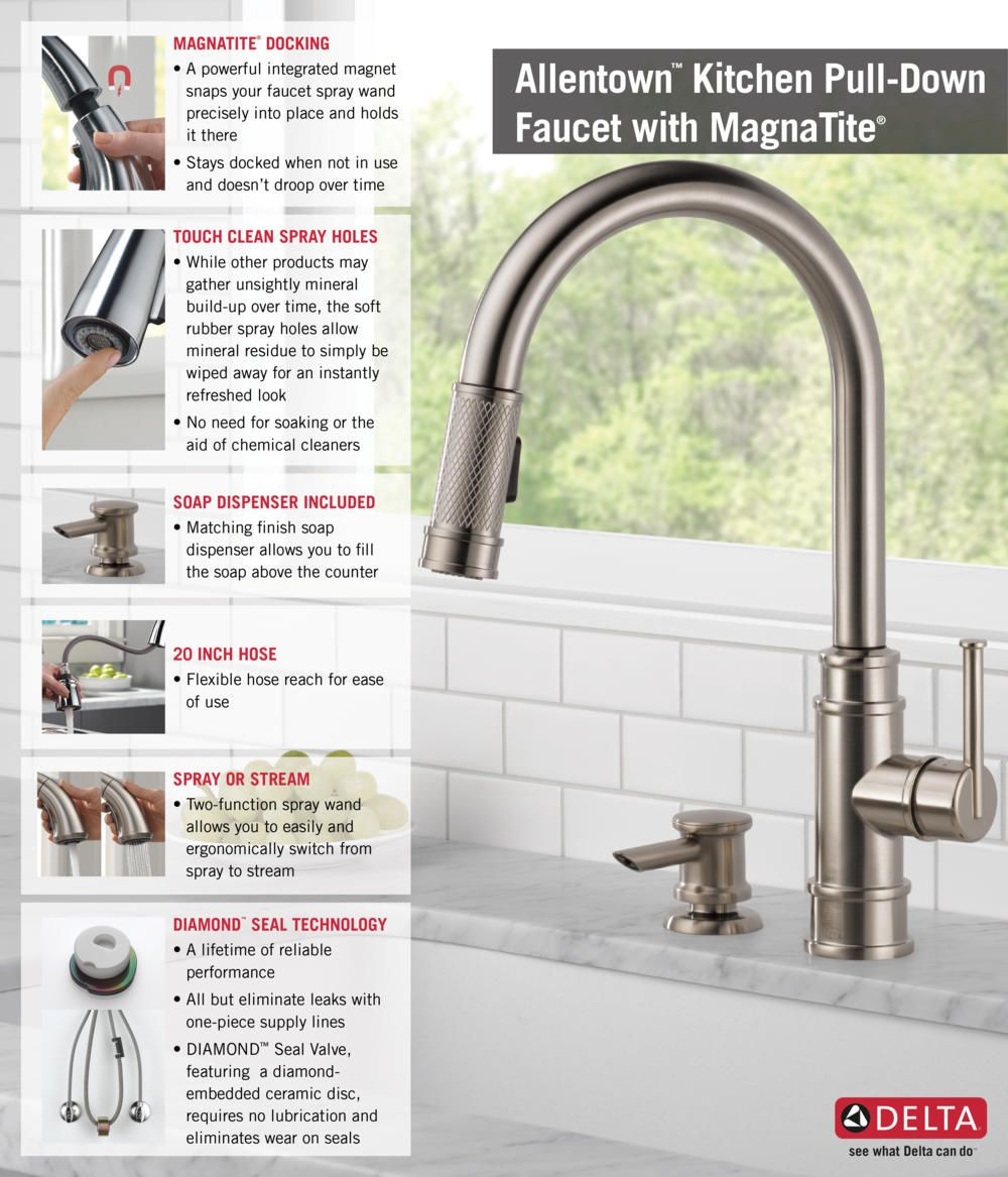 Delta Allentown Single-Handle Pull-Down Sprayer Kitchen Faucet with ...
