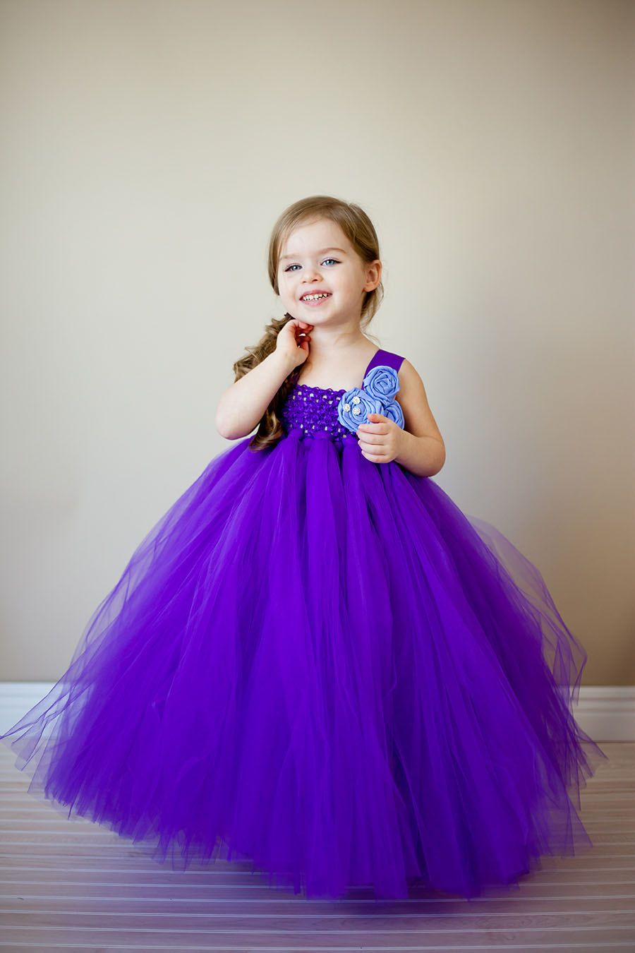 Flower girl tutu dress in purple couture with lavender