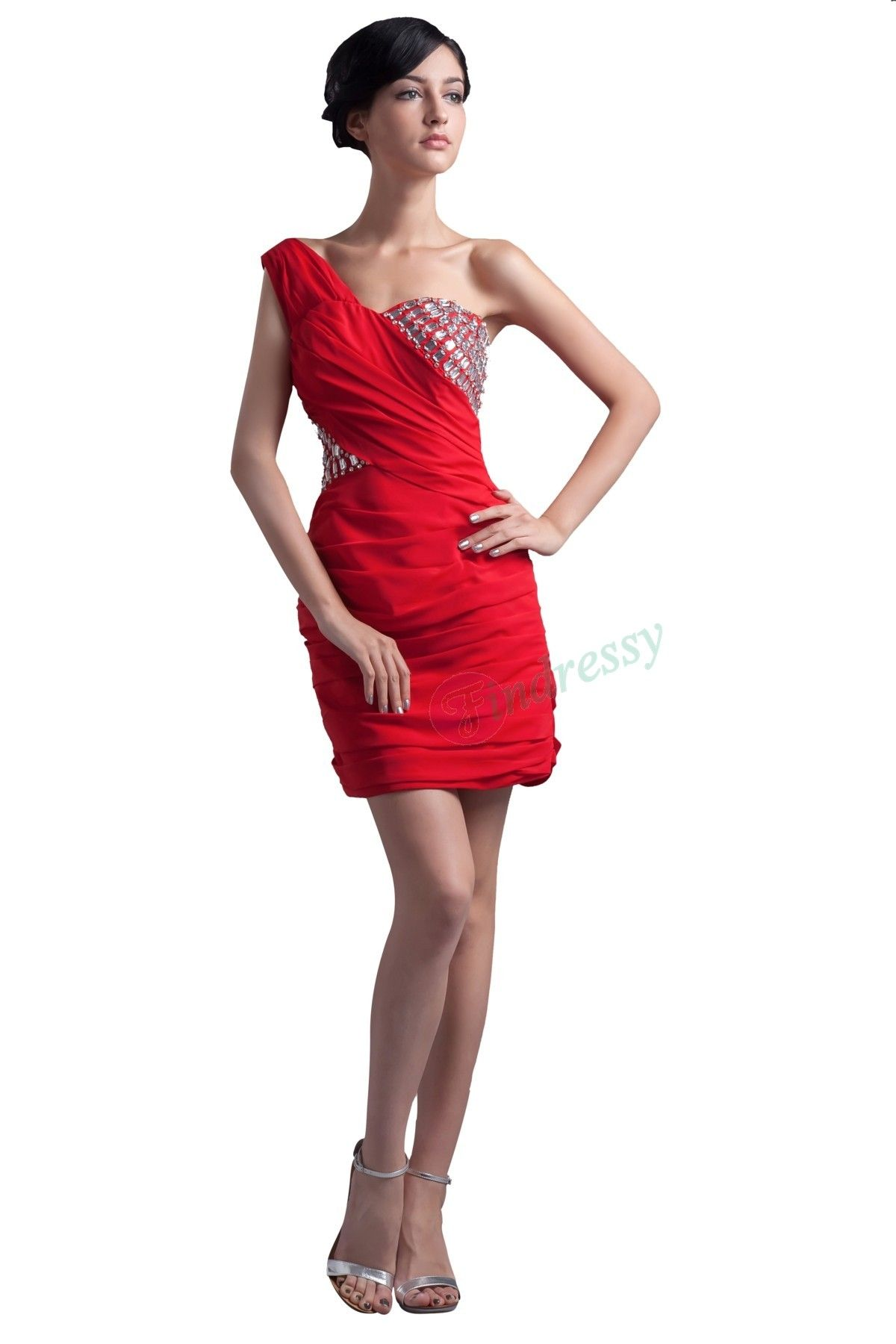 Buy fashion discount sexy oneshoulder short red chiffon cocktail