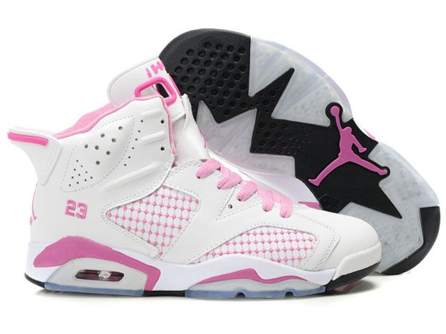 Nike Air Jordan 6 Women Shoes White Pink For Sale a63a4e1adf