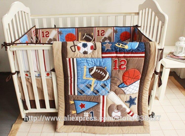New 7pcs Baby Bedding Set Baseball Boy Sports Crib Sets Cot