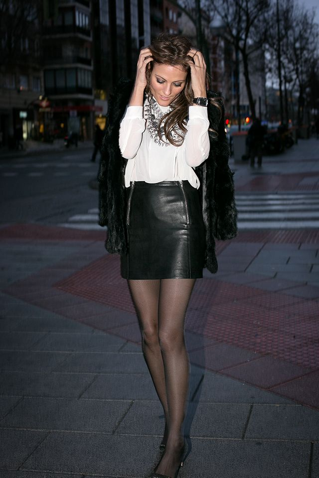 OUTFITS, black leather skirt, maje mini, zara, hakei fur coat ...