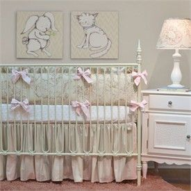 Peony Ivory And Pink Crib Bedding Set By Doodlefish