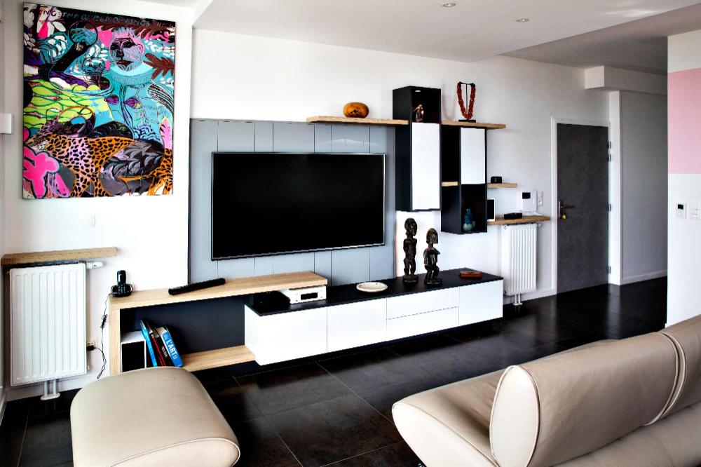 Meuble Tv Sur Mesure Design Et Destructure En Lambris Gris En 2020 Meuble Tv Deco Meuble Tv Mobilier De Salon