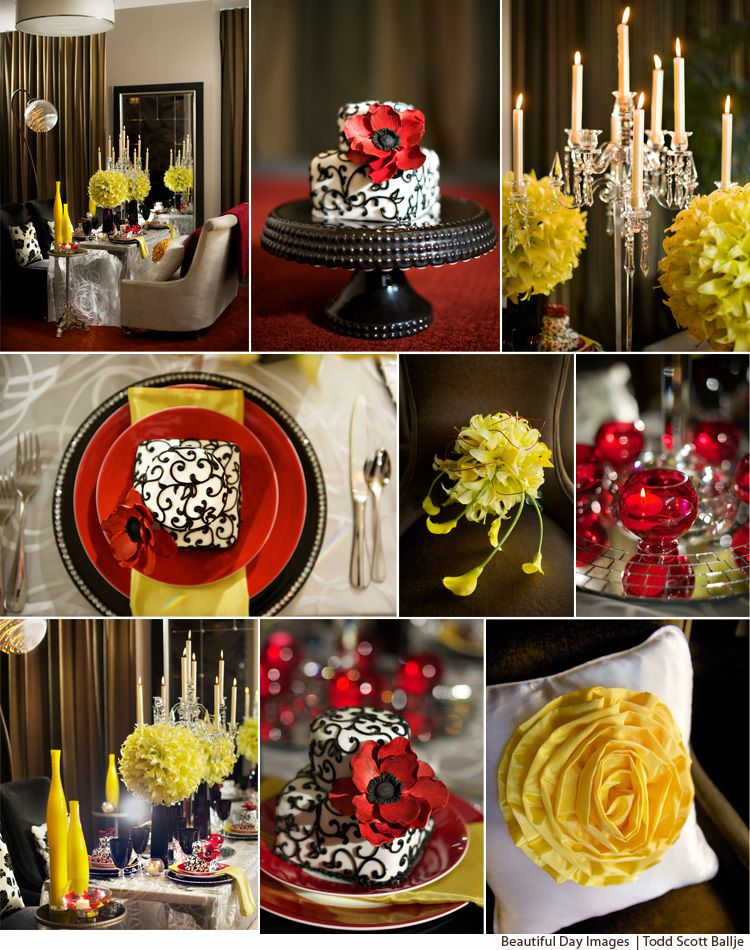 Black, white, red with pops of yellow tabletop design of Little ...