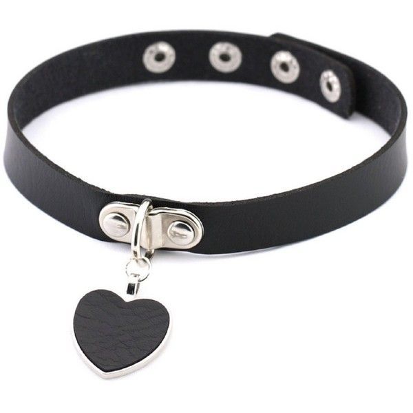 Blowin New Arrivals Punk Gothic Handmade Heart Charm Leather Collar... (10 BRL) ❤ liked on Polyvore featuring jewelry, necklaces, charm necklace, gothic chokers, gothic jewelry, goth necklace and choker necklace
