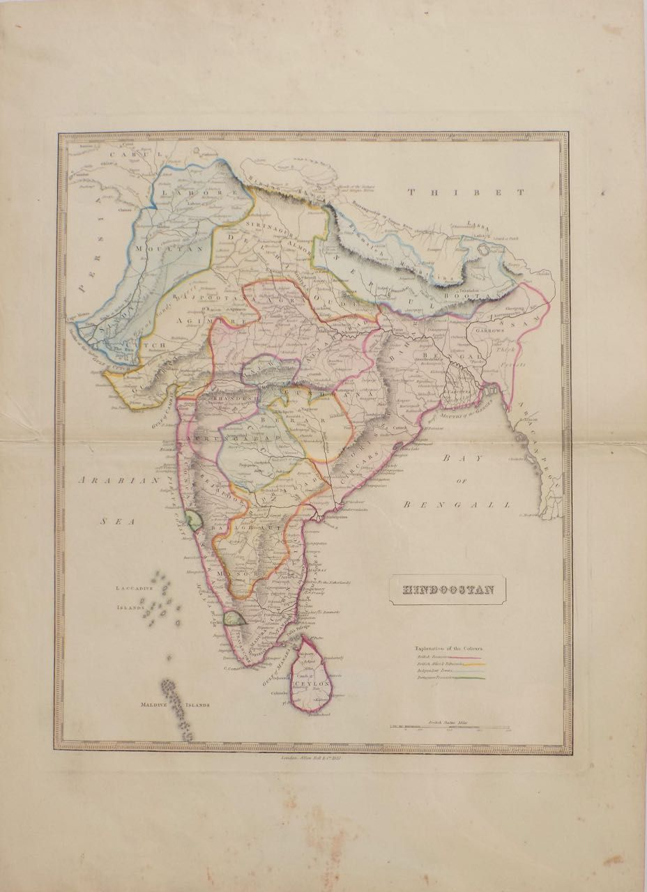 Hindoostan india nepal pakistan ceylon 1839 original engraving hindoostan india nepal pakistan ceylon 1839 original engraving from new general atlas being a collection of maps of the world various quarters gumiabroncs Image collections