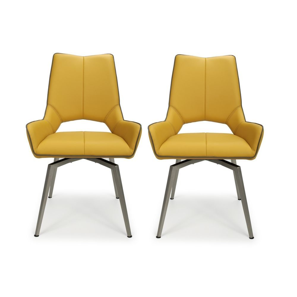 Strange 2 Pieces Swivel Dining Chair Yellow Faux Leather Seat Steel Gmtry Best Dining Table And Chair Ideas Images Gmtryco