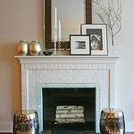 Living room - White brick fireplace West Elm Silver leaf silver #whitebrickfireplace