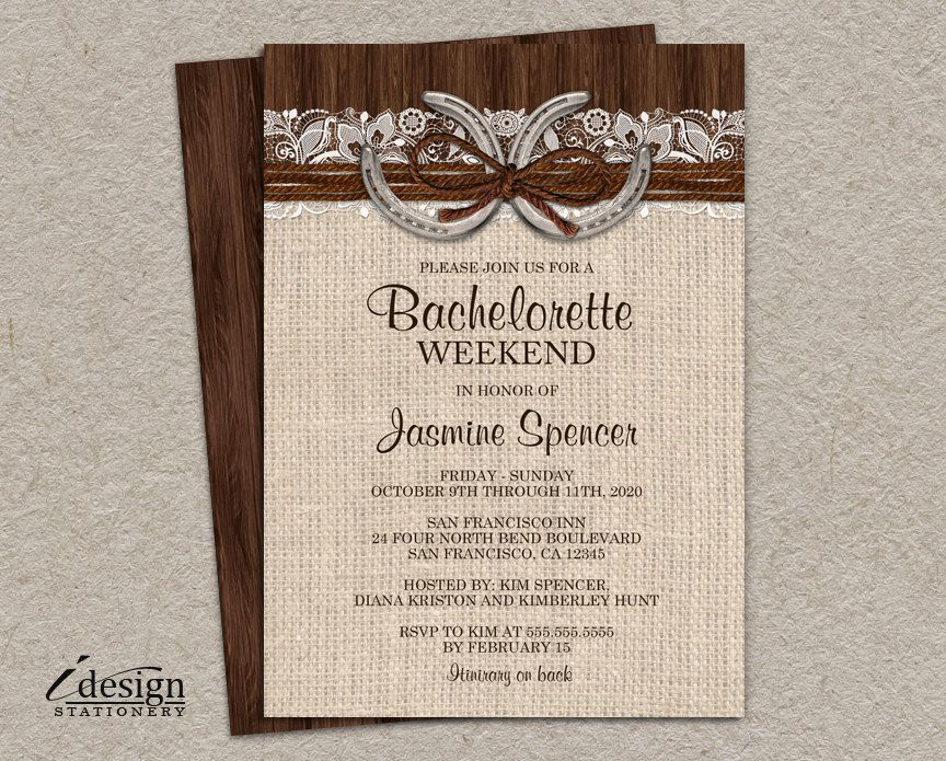 Rustic Country Western Bachelorette Weekend Invitation With ...