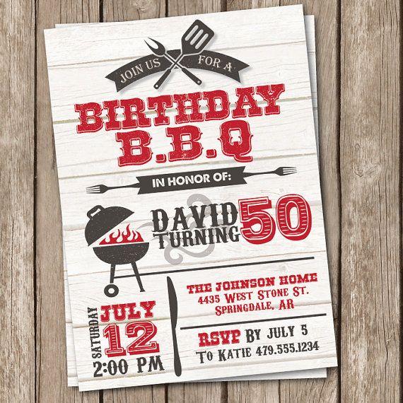 bbq birthday invitation grilling party invitation 50th birthday