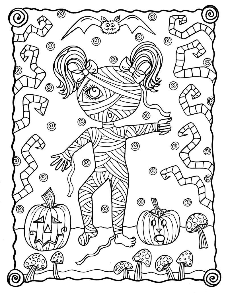 Halloween Darlings Digital Book Fun Little Trick Or Treaters Etsy Halloween Coloring Pages Printable Halloween Art Halloween Coloring