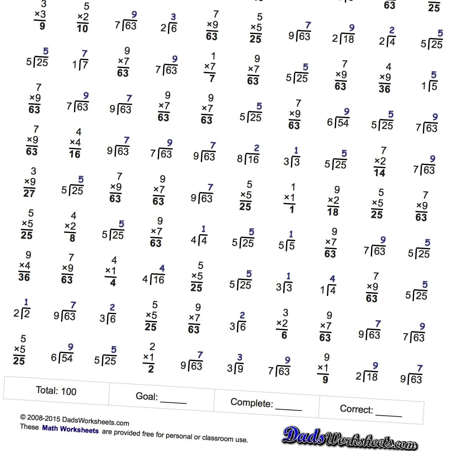 hight resolution of Math Worksheets: Two Minute Multiplication/Division   Multiplication and  division
