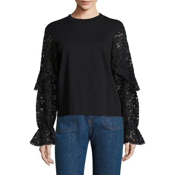 de7f70d6 See by Chloé Lace Bell Sleeve Tee ($245) ❤ liked on Polyvore ...