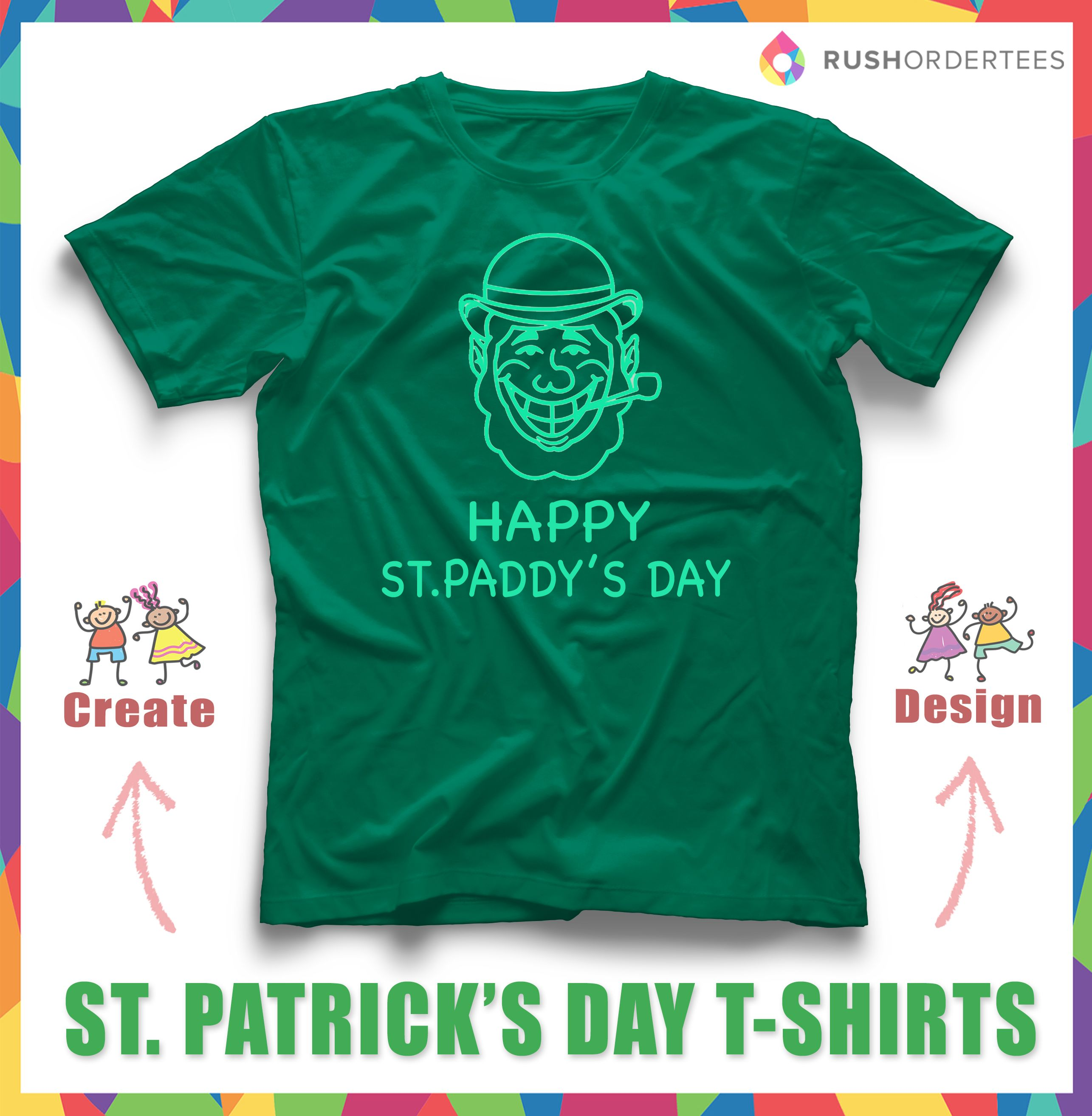 90e2ceee Show your St. Patrick's Day Spirit with a custom t-shirt! Design Online at  rushordertees.com #stPatricksDay #customshirt