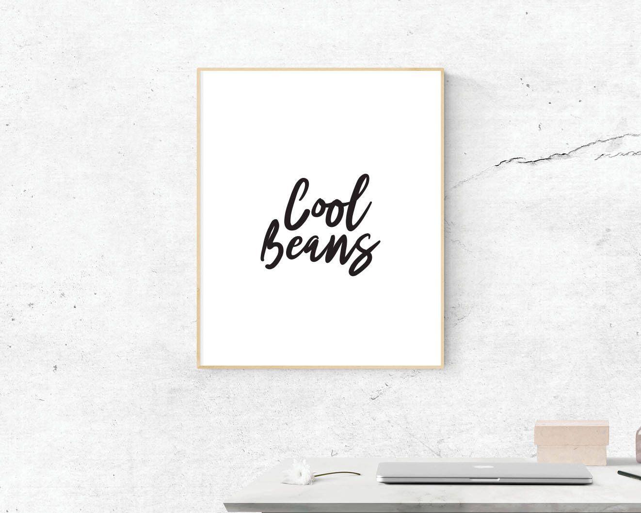 Cool beans print digital print coffee art kitchen art digital