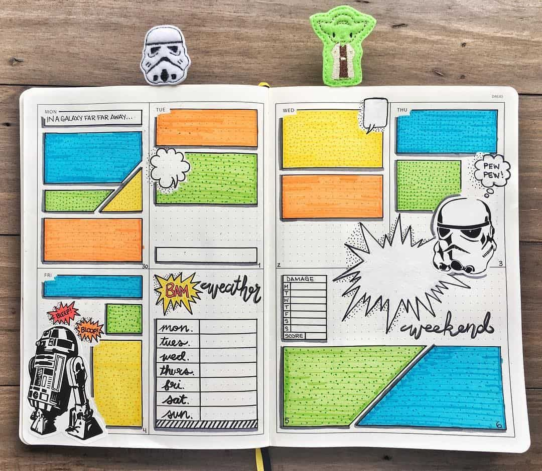 7 Comic Book Bullet Journal Weekly Spread Ideas You'll Want to Try! #comicbooks