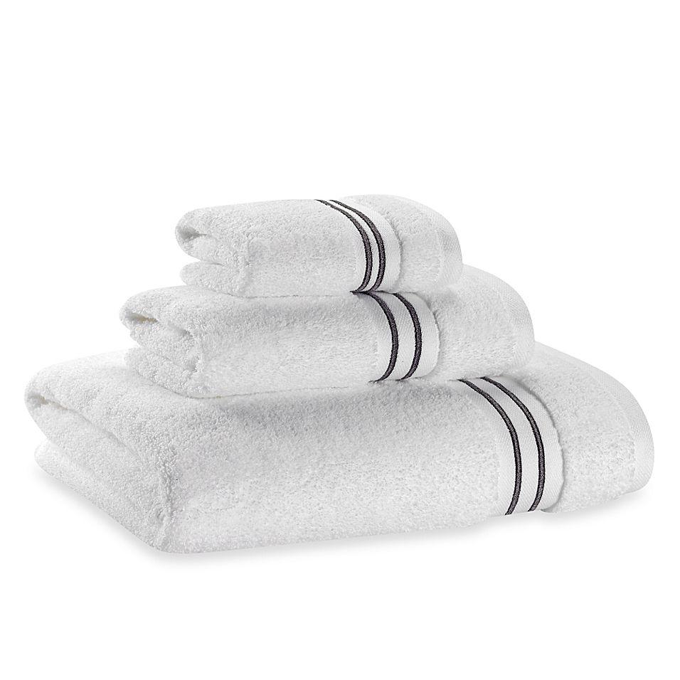 Wamsutta Hotel Micro Cotton Bath Towel In White Grey Bath Towels