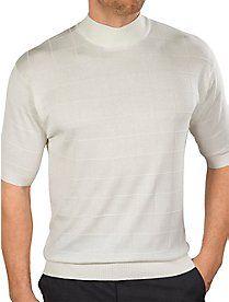 Silk Grid Pattern Fine Gauge Short Sleeve Mock Neck Sweater My