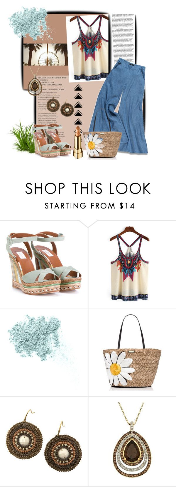 """Summer wear"" by prettyinjewels ❤ liked on Polyvore featuring Été Swim, Valentino, Bare Escentuals, Forever 21, Kate Spade, Dolce&Gabbana, summerstyle and summeroutfit"