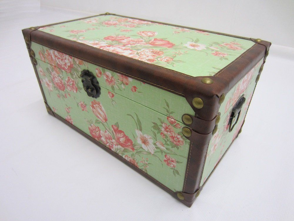 Shabby Chic Green Fl Design Storage Chest Trunk Toy Box Extra Large Co Uk Kitchen Home