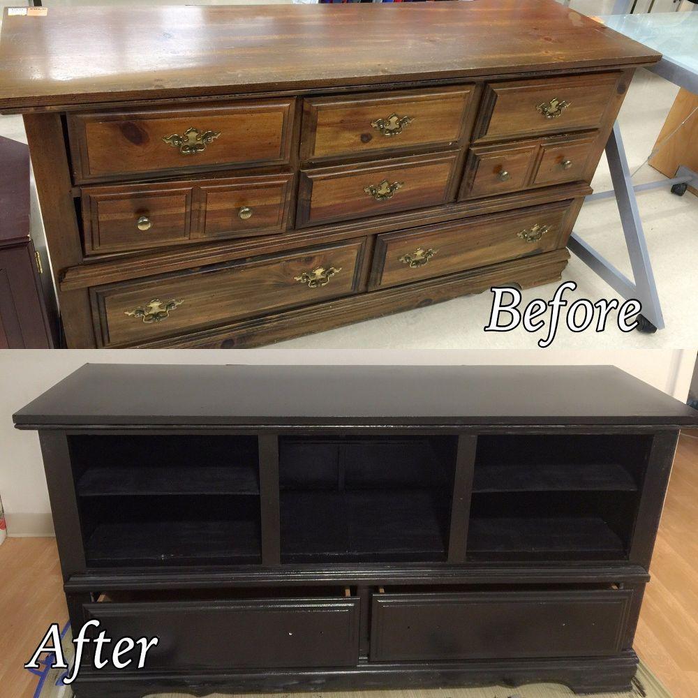Dresser To Entertainment Center Repurposed Furniture