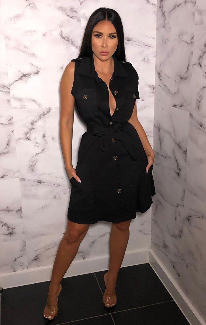 Black Utility Belted Sleeveless Dress - Adelle #blacksleevelessdress