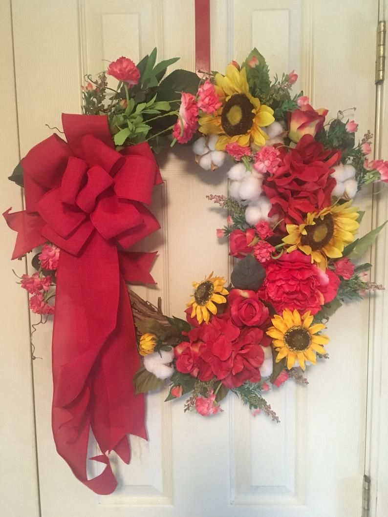 Photo of Fall Wreath, Sunflower Wreath, Cotton Wreath, Red Floral Grapevine Wreath, Floral Grapevine, Autumn Decor