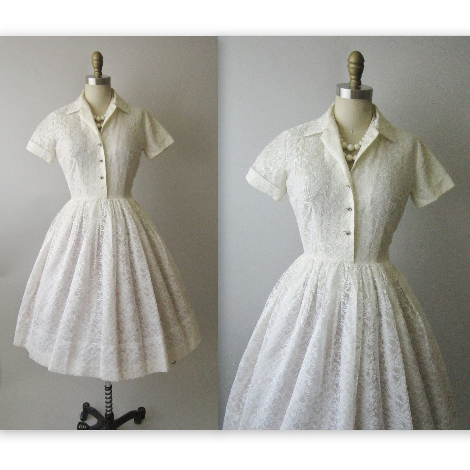 A Vintage Formal Outdoor Wedding In Virginia: 50's Lace Dress // Vintage 1950's White Lace Shirtwaist