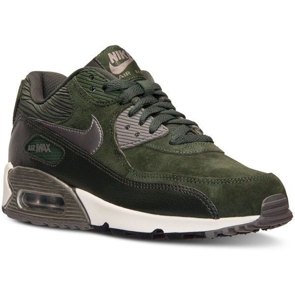 Nike Womens Air Max 90 Leather Running Sneakers from Finish Line ($120) ❤  liked