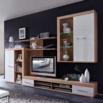 wohnzimmer wohnwand in weiß hochglanz eiche sonoma modern (4