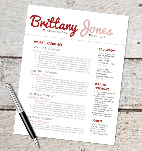 INSTANT DOWNLOAD - Resume Design Template - Microsoft Word - resume template for microsoft word