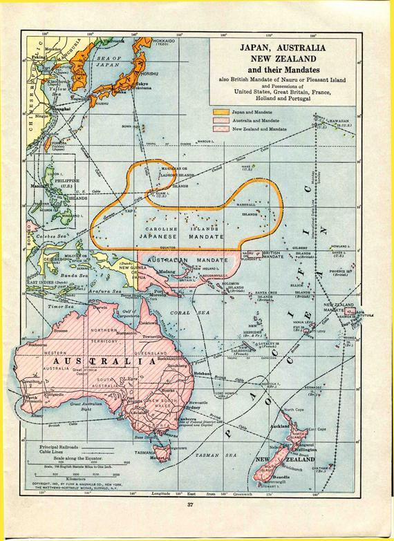 Map Of Australia Japan.1921 Australia Japan New Zealand Mandates Map Oceania Pacific