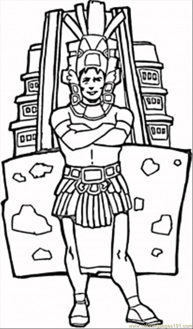 aztecs coloring pages free printable coloring page Man Aztec