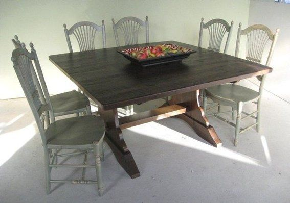 Custom Made Square Trestle Dining Farm Table Furniture Pinterest - Square trestle dining table