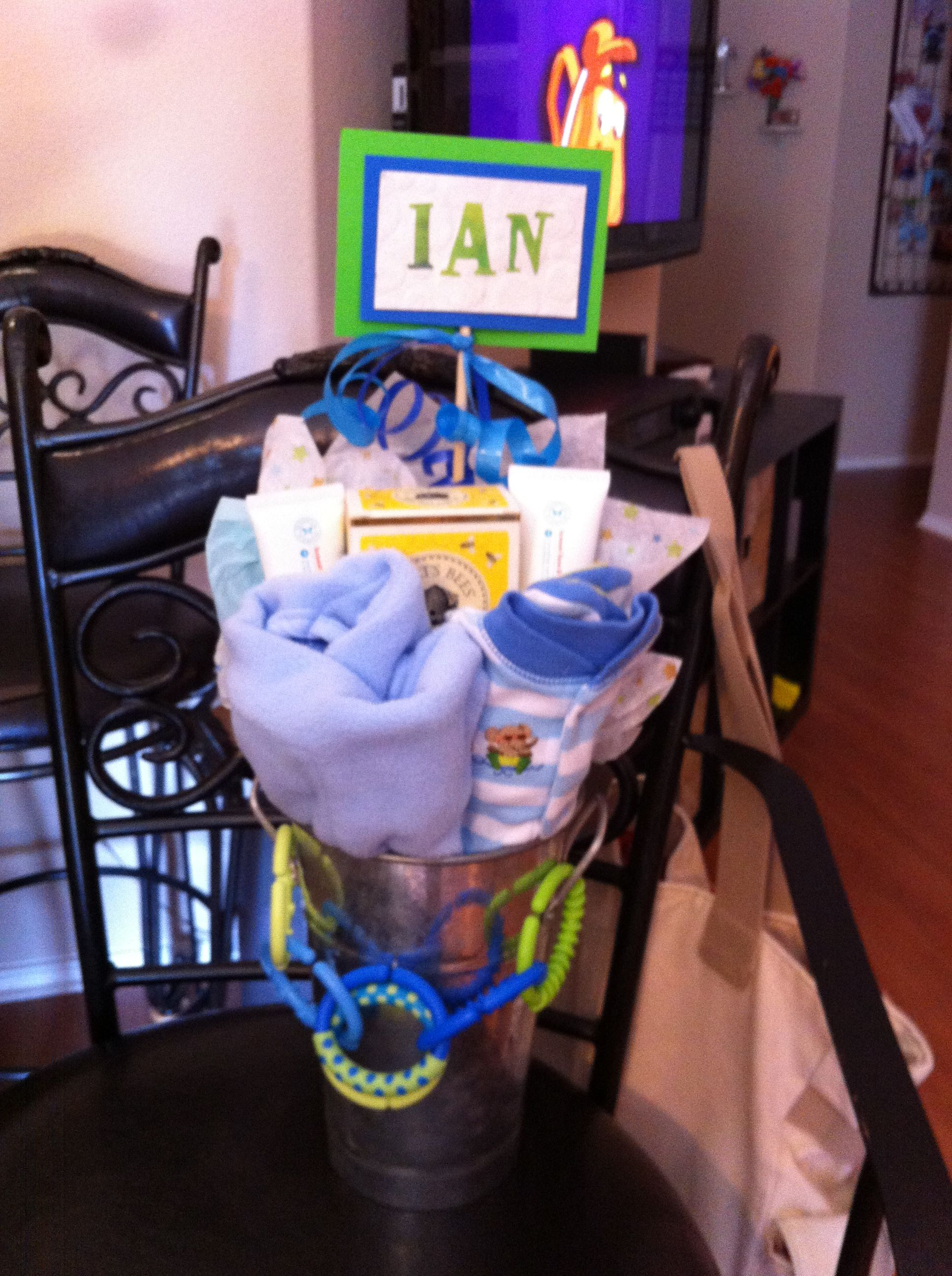 Baby boy gift bucket and name sign stuff i made pinterest baby boy gift bucket and name sign negle Choice Image