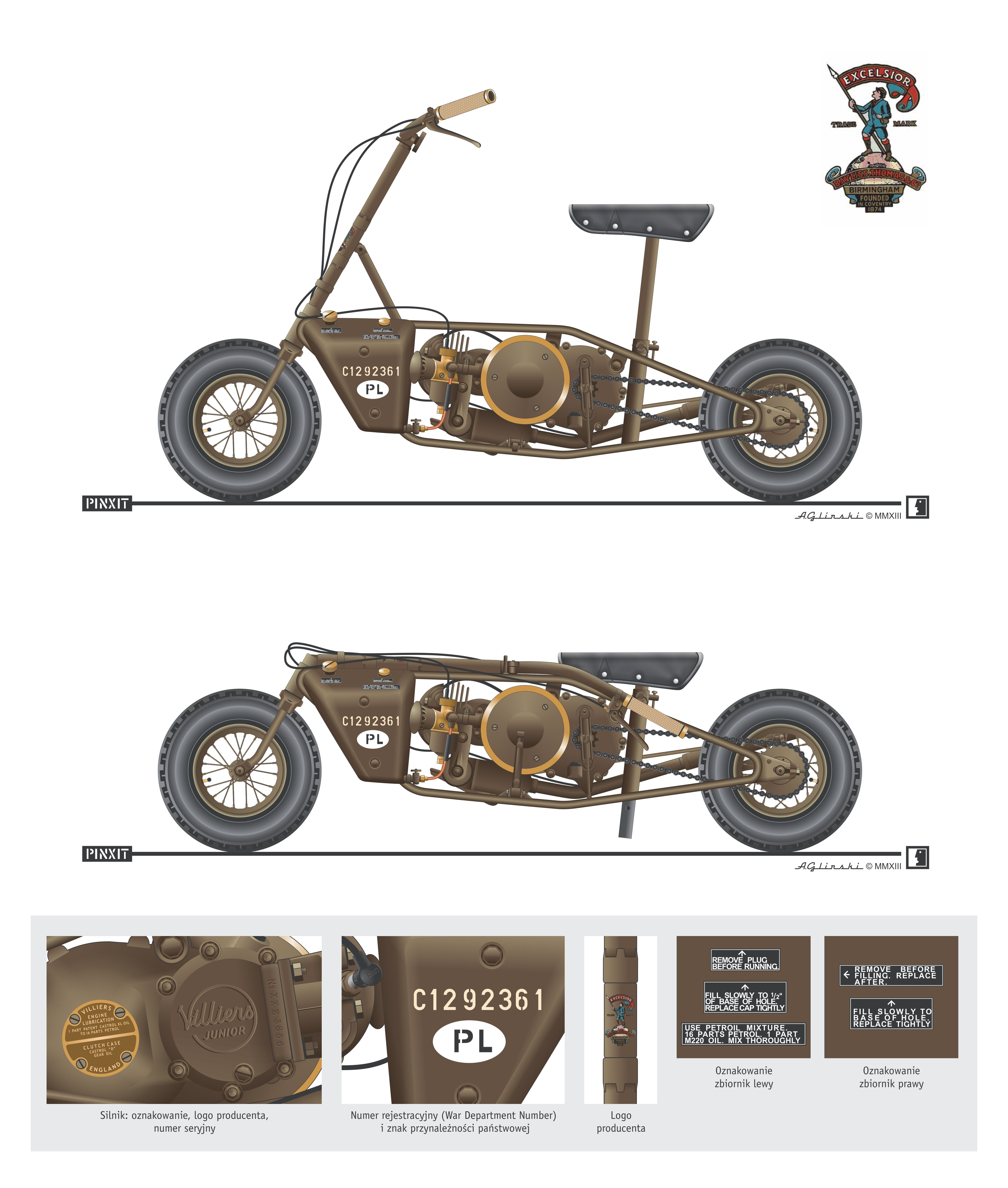 Excelsior Welbike 98 Cc Parascooter 1st Polish Independent Parachute Brigade 1941 1947 Colour Plate Rys A Military Motorcycle Mini Bike Mini Bike Custom