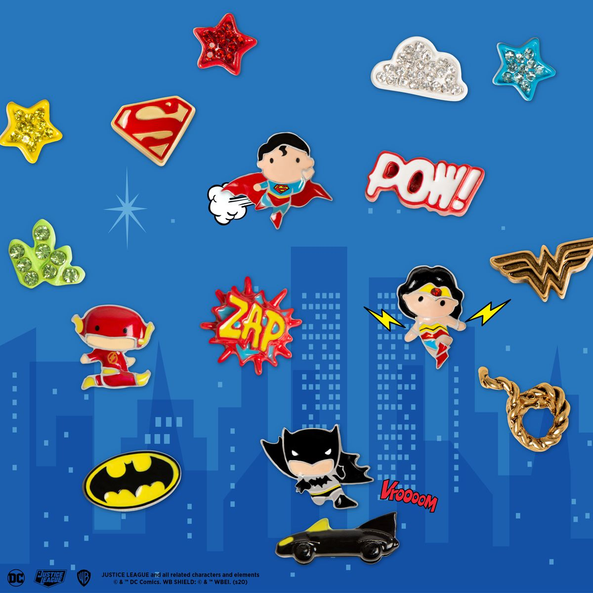 Photo of Justice League charms and lockets from Origami Owl