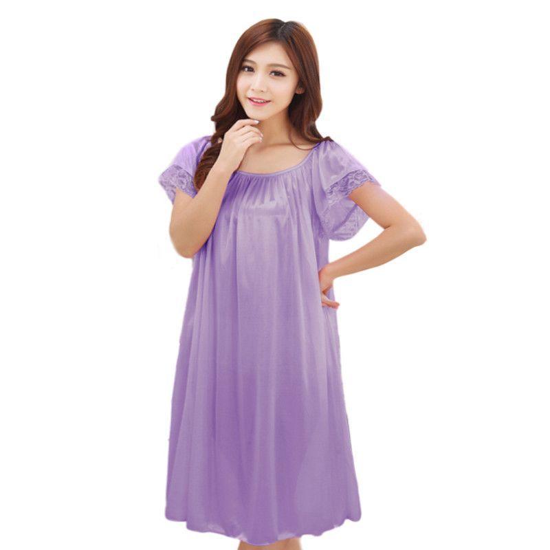9dece177c5821 Summer long silk nightgown nightdress for women plus size ladies lingerie  pajama maternity sleepwear pregnant nightwear robes