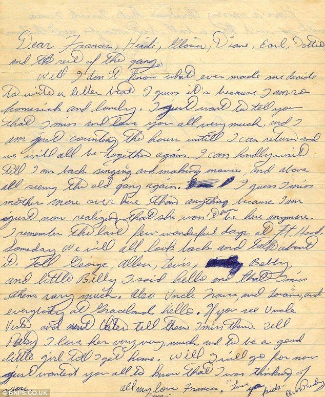 I'm lonesome tonight 'Homesick' Elvis letter written from