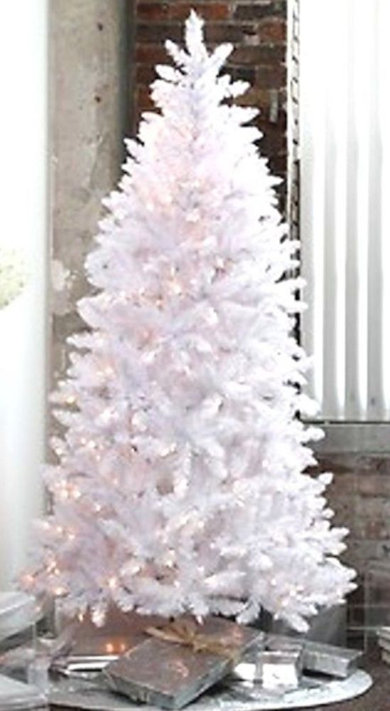 details about pre lit 65 white artificial christmas tree clear multi blue lights