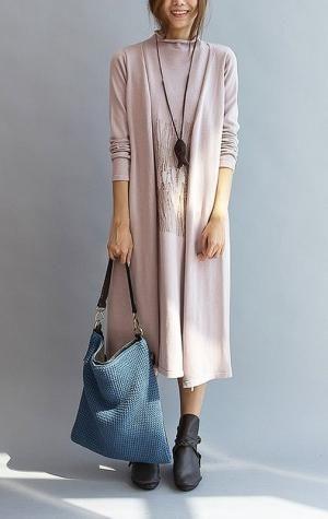 Double layered long sweater dress dark pink