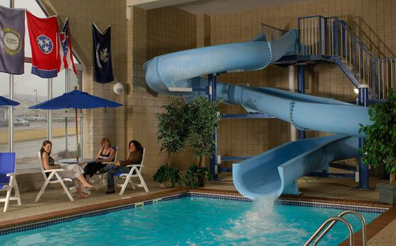 twisty slide to indoor pool at country inn suites in