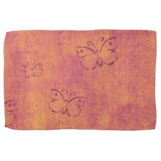 Peach Grunge Butterfly Design Kitchen Towel