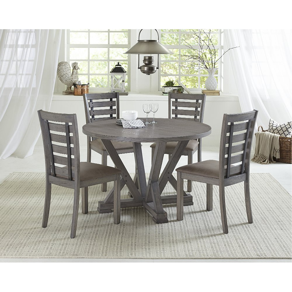 Distressed Gray Round 5 Piece Dining Room Set Fiji In 2020