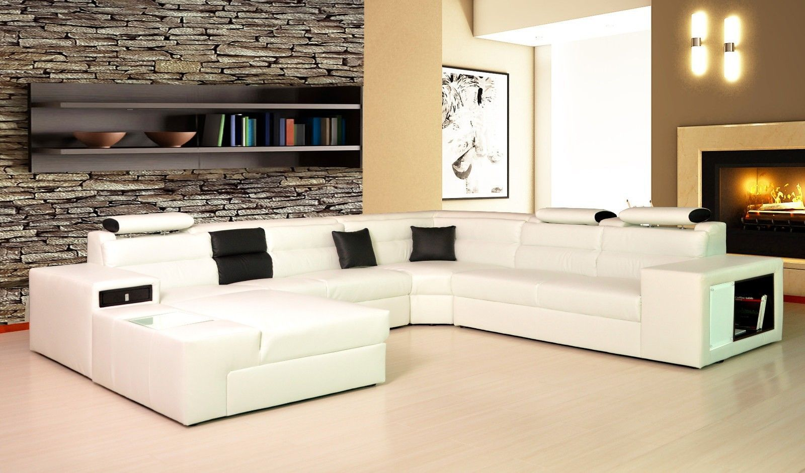 Cynthia Leather Corner Sofa Left Hand Chaise White Black Ebay Living Room Leather Leather Living Room Furniture Leather Corner Sofa