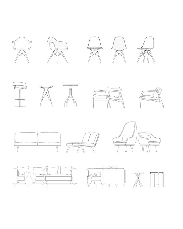 Modern Furnitures Dwg Dwg Furnitures Modern Vector Interior Design Sketches Interior Design Drawings Architecture Drawing