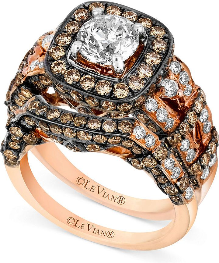 Levian Le Vian Ring Set White Diamond 1 3 8 Ct T W And Chocolate Chocolate Diamond Ring Engagement Chocolate Diamond Wedding Rings Chocolate Diamond Ring