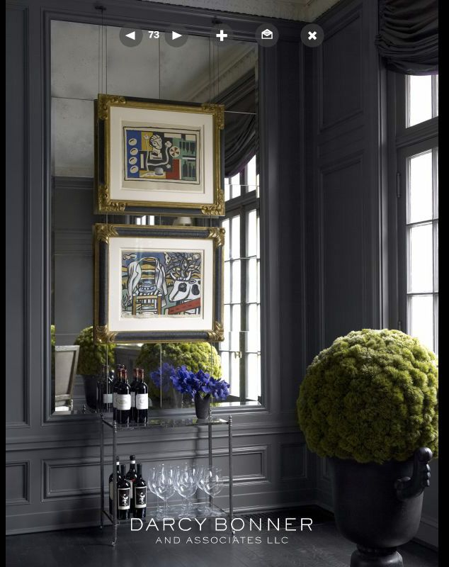 i really like mirror tiles when framed with wall panels ...