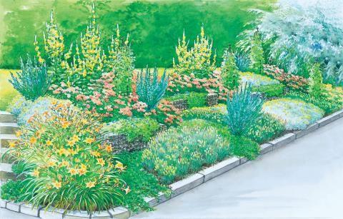 Hübsche Beete Am Hang Garten Garten Pflanzen Gartengestaltung